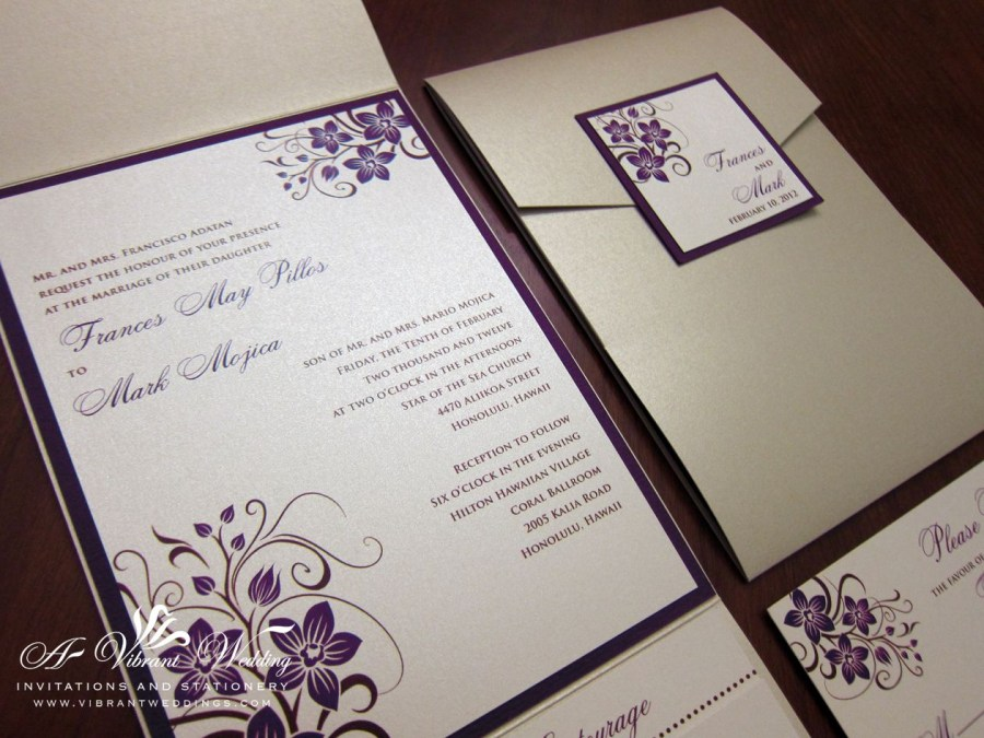 Orchid Wedding Invitations Champagne And Purple Wedding Invitation With Orchid Design Wedding