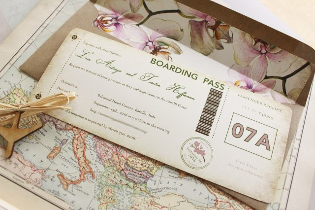 Orchid Wedding Invitations Orchid Boarding Pass Wedding Invitation Italy