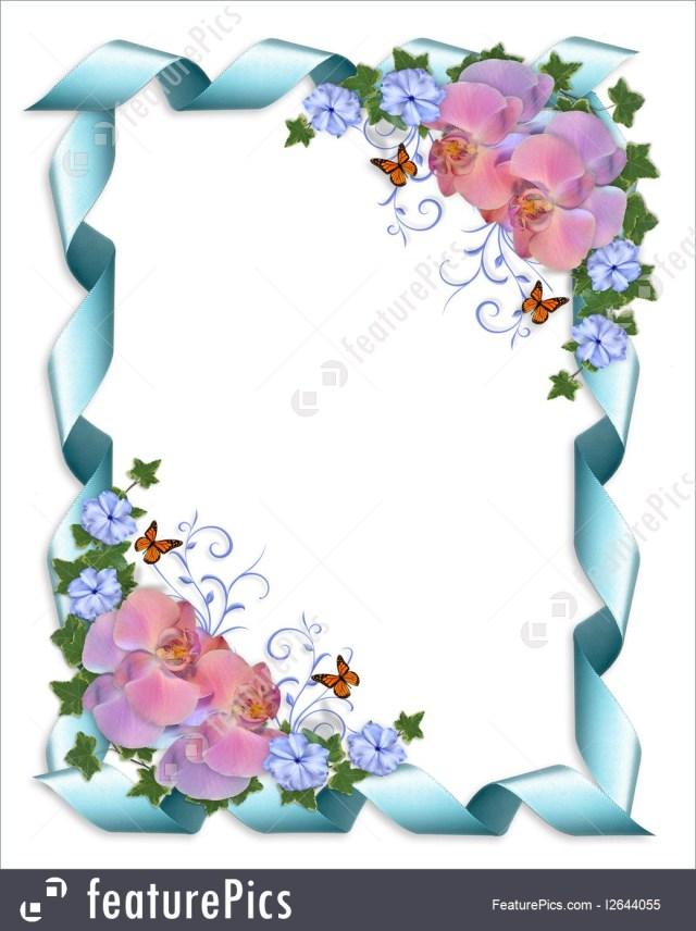 Orchid Wedding Invitations Templates Wedding Invitation Border Orchids Stock Illustration