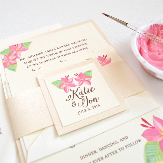 Orchid Wedding Invitations Tropical Pink Floral Wedding Invitations Only At Mospens Studio