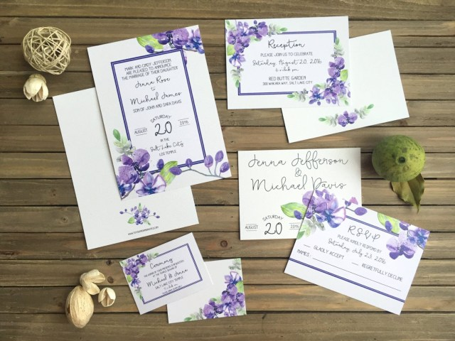 Orchid Wedding Invitations Wedding Invitation Suite Watercolor Orchid Wedding Set Purple