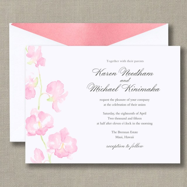 Orchid Wedding Invitations William Arthur Truly Watercolor Orchid Bright White Wedding