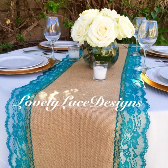 Peacock Wedding Decor Burlap Table Runner With Tealjade Lace 14 Wide X 12ft 20ft Long