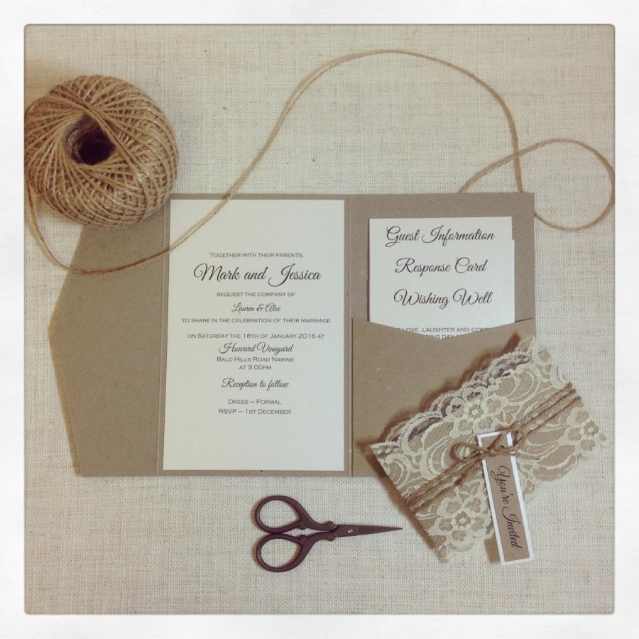 Pocketfold Wedding Invitations Wedding Invitation Rustic Lace Pocketfold Wedding Invitation Sample