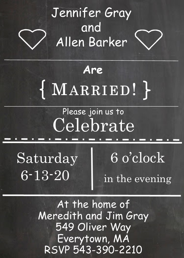 Post Wedding Party Invitations Elopement Party Invitations Reception Only Invitations