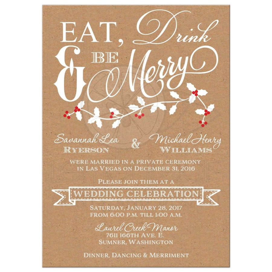Post Wedding Party Invitations Rectangle Eat Drink And Be Merry Wedding Invitation Kraft Paper