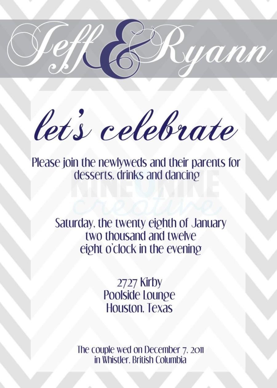 Post Wedding Party Invitations Wedding Reception Invitation Nineoninecreative On Etsy 1200