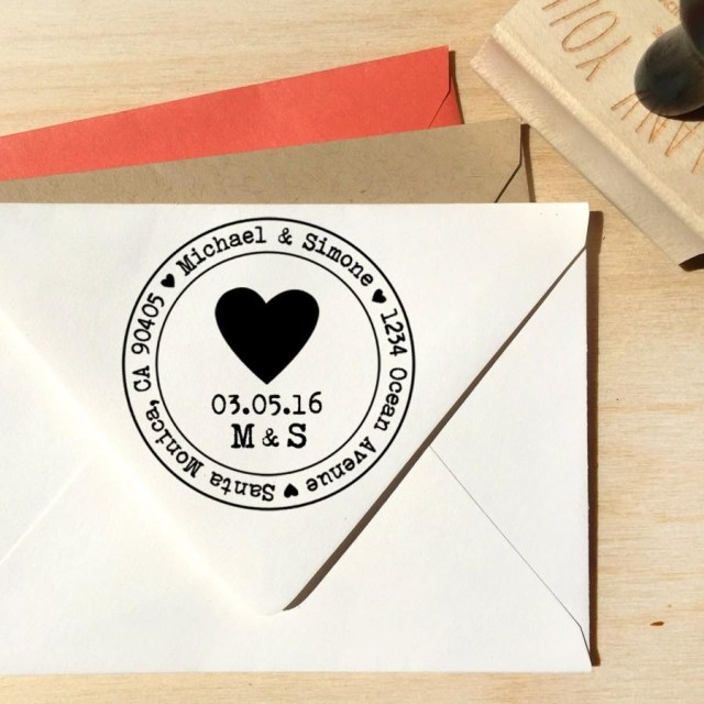 Postage For Wedding Invitations Heart Address Stamp For Save The Dates Wedding Invitations With A