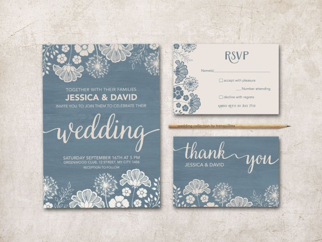Printable Wedding Invitation Dusty Blue Wedding Invitation Rustic Wedding Invitation Printable