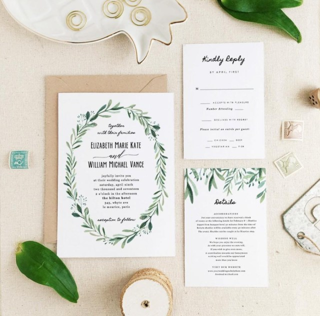 Printable Wedding Invitation Greenery Wedding Invitation Template Printable Wedding Invitation