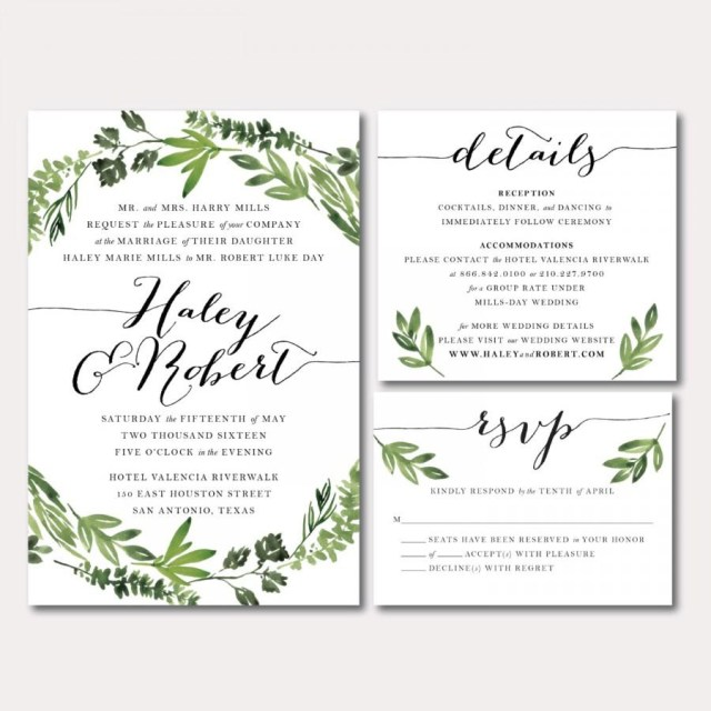 Printable Wedding Invitation Printable Wedding Invitation Suite Botanical Wreath Watercolor