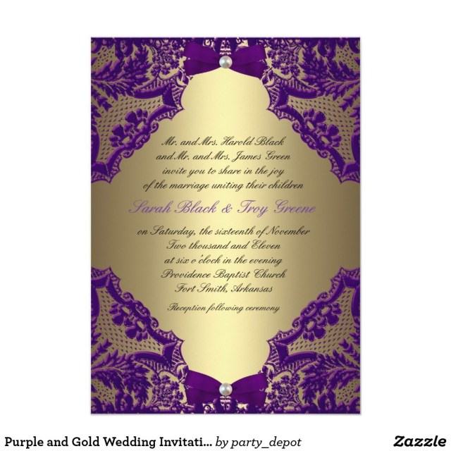Purple And Gold Wedding Invitations Purple And Gold Wedding Invitation Ideas For Anniversary Gold