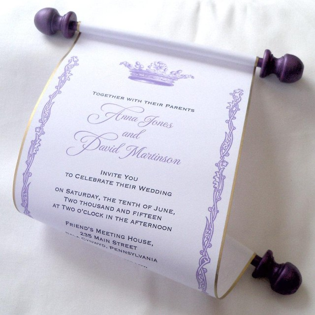 Purple And Gold Wedding Invitations Royal Wedding Invitation Paper Scroll Invitation Crown Invitation