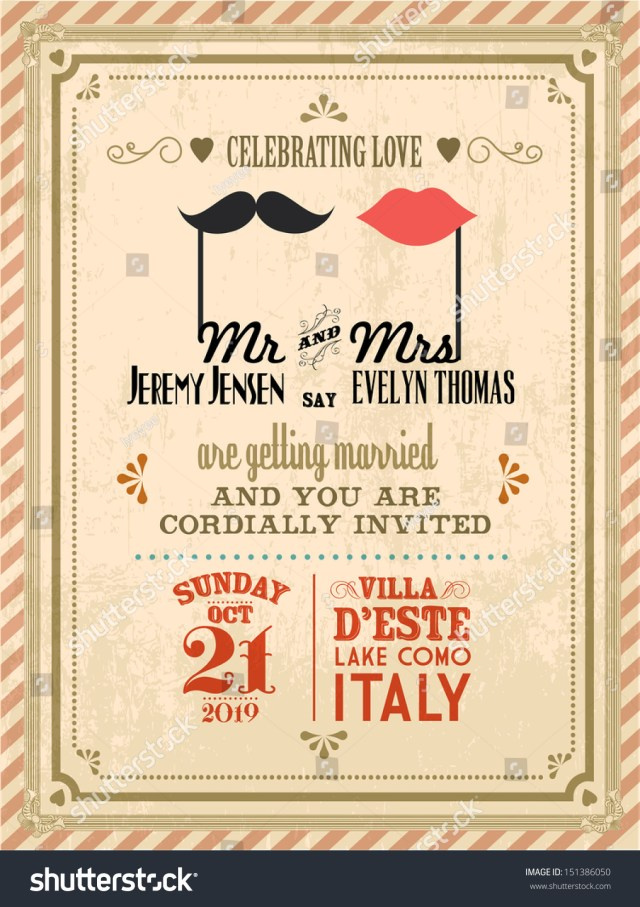 Retro Wedding Invitations Vintage Wedding Invitation Card Template Vectorillustration Stock