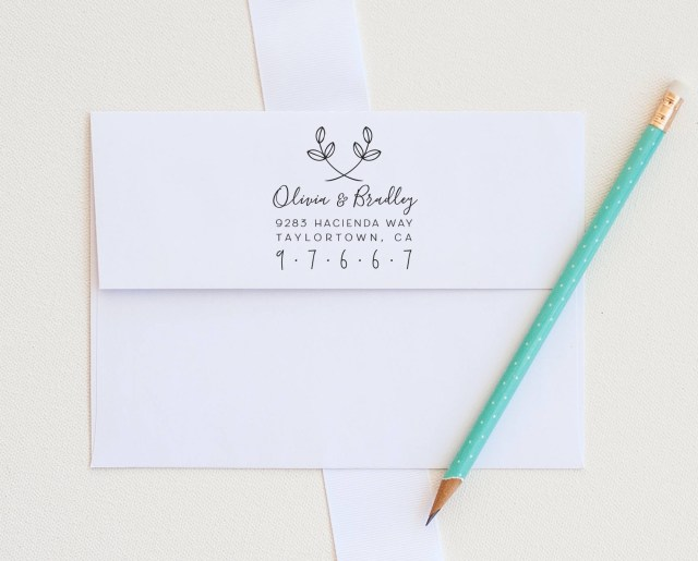 Return Address For Wedding Invitations Leaf Address Stamp Custom Address Stamp Return Address Stamp