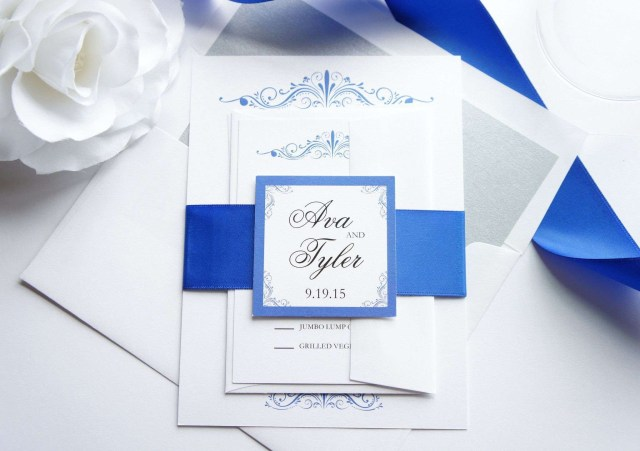 Royal Blue And Silver Wedding Invitations Royal Blue And Silver Wedding Card