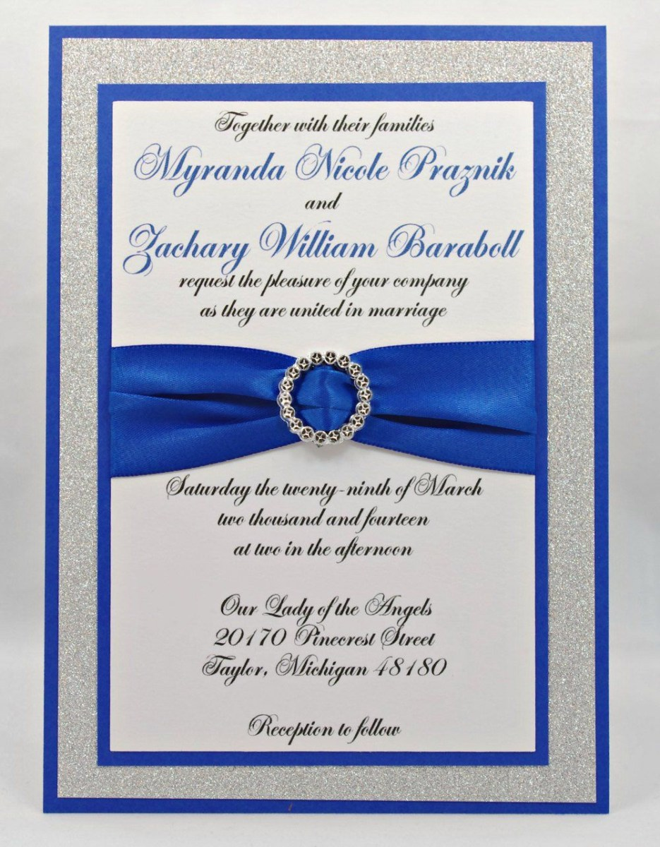 Royal Blue And Silver Wedding Invitations Stunning Royal Blue Silver Glitter Wedding Invitation Full Of
