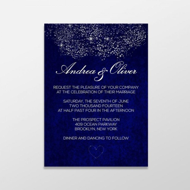 Royal Blue Wedding Invitations Custom Personalized Digital Wedding Invitation Formal Royal Blue