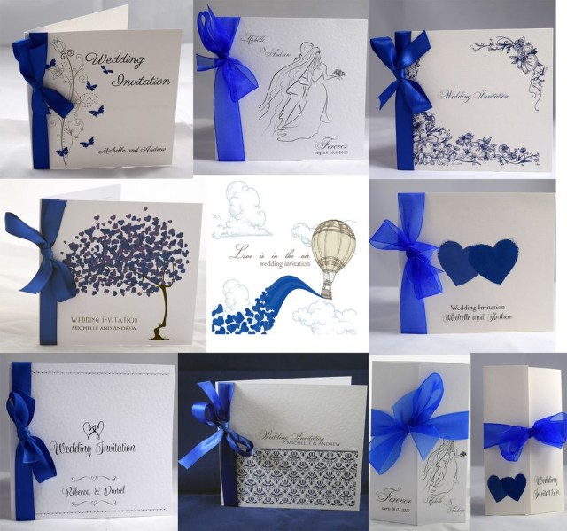 Royal Blue Wedding Invitations Royal Blue Wedding Invitations Personalised Ribbon Envelopes Day