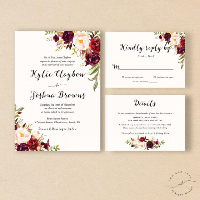 Rustic Fall Wedding Invitations Bohemian Wedding Invitation Suite Fall Wedding Invitation Winter