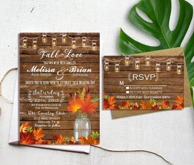 Rustic Fall Wedding Invitations Fall Wedding Invitation Autumn Wedding Invitation Fall In Etsy