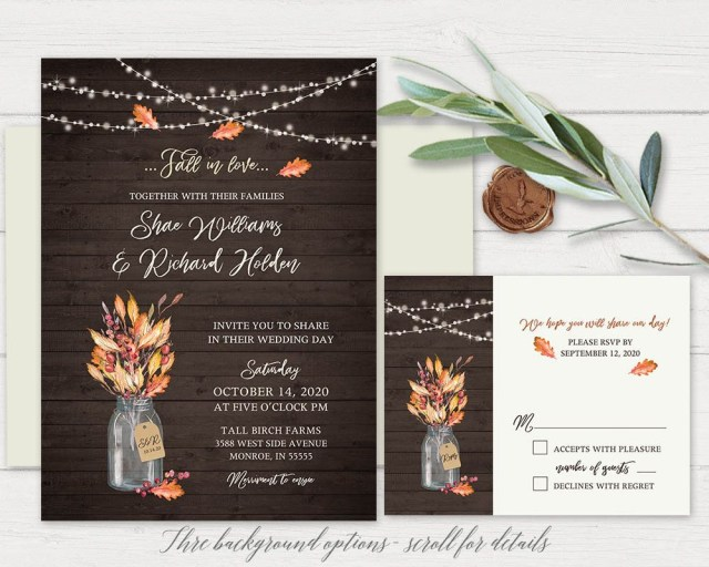Rustic Fall Wedding Invitations Fall Wedding Invitation Template Rustic Mason Jar Falling In Love