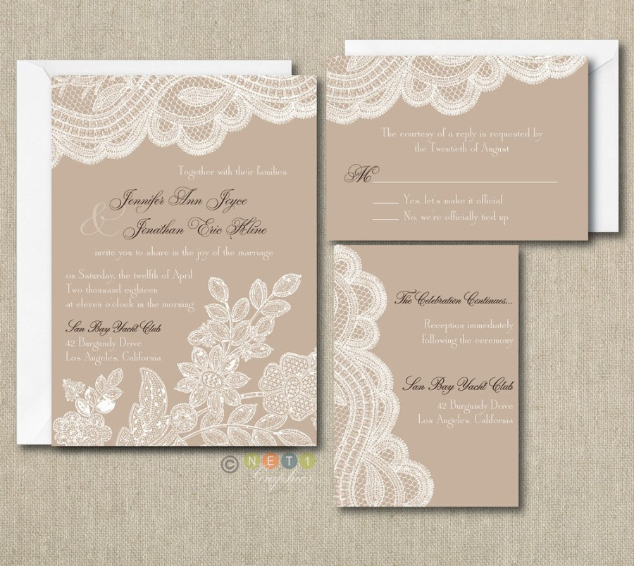 Rustic Wedding Invitation Kits 100 Personalized Custom Rustic Vintage Lace Wedding Invitations Set