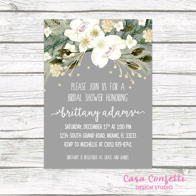 Rustic Wedding Shower Invitations Christmas Bridal Shower Invitation Winter Bridal Shower Invitation