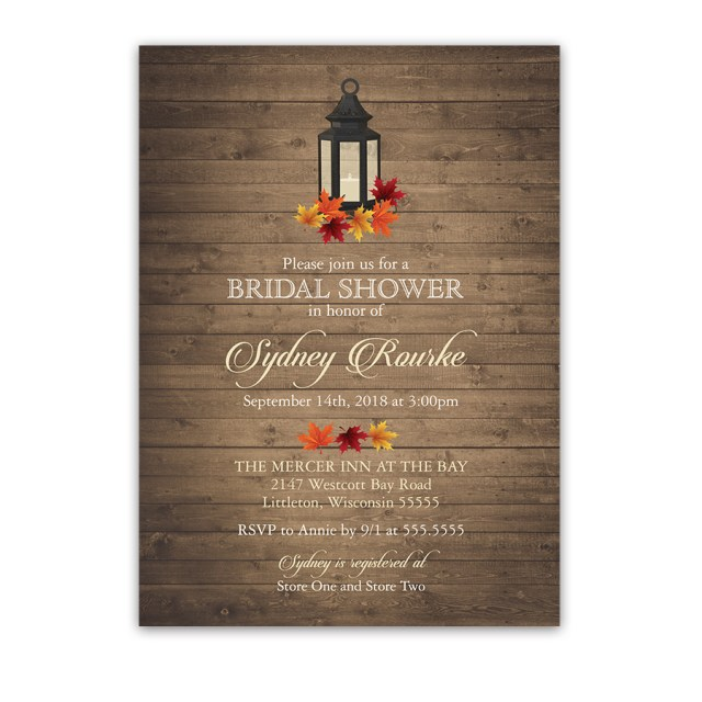 Rustic Wedding Shower Invitations Rustic Bridal Shower Invitation Lantern Fall Leaves Barn Wood