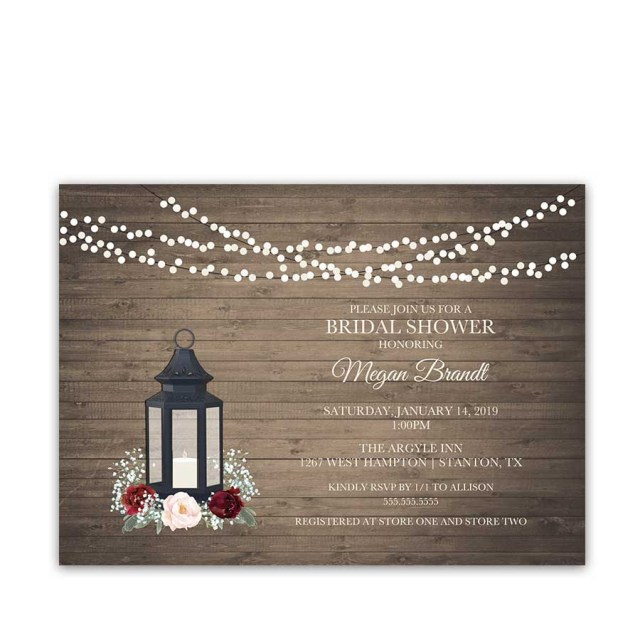 Rustic Wedding Shower Invitations Rustic Bridal Shower Invitations Lantern Burgundy Florals