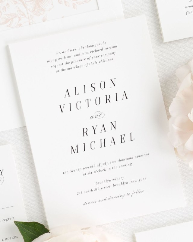 Simple Wedding Invitation Light And Airy Wedding Invitations In Rose Gold Wedding Invitations