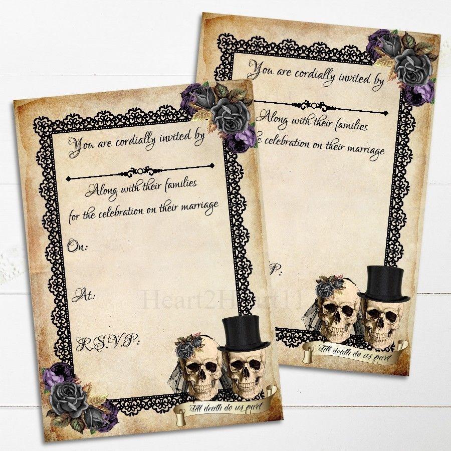 Skull Wedding Invitations Skull Wedding Invitations Gothic Alternative Invite Skulls Bride
