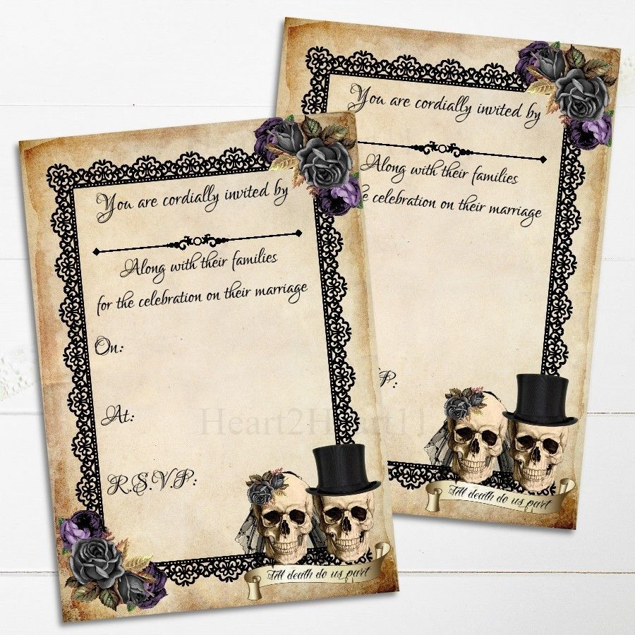Skull Wedding Invitations Skull Wedding Invitations Gothic Alternative Invite Skulls Bride