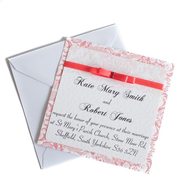 Square Wedding Invitations 50 Square Wedding Invitations Personalised Coral All Ways Design
