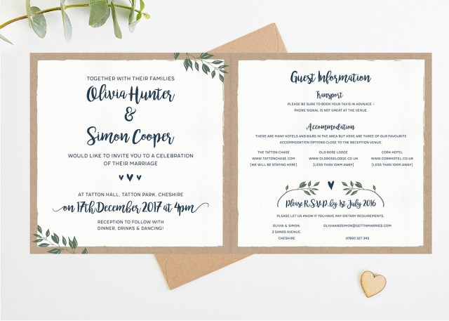 Square Wedding Invitations Botanical Rustic Kraft Folded Square Wedding Invite Normadorothy
