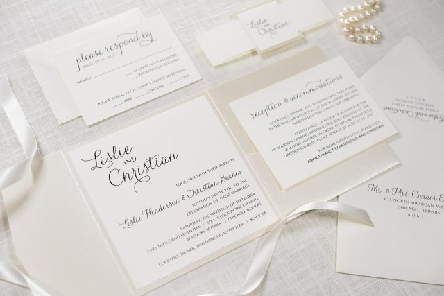 Square Wedding Invitations Elegant Formal Cream Ivory Champagne Opal Shimmer Square