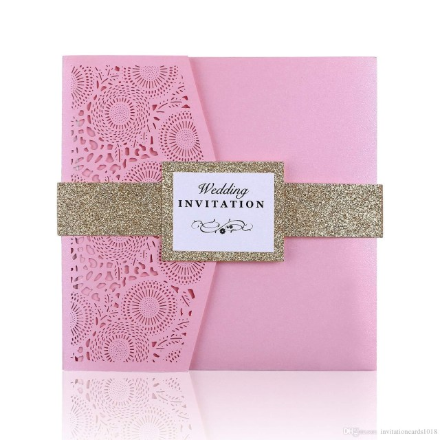 Square Wedding Invitations New Pink 3 Folds Square Wedding Invitation Cards With Belt For