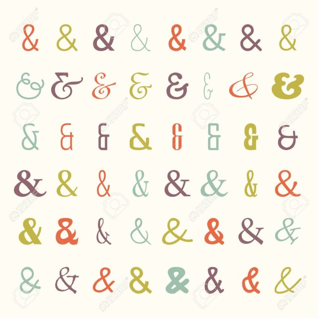 Symbols For Wedding Invitations Vector Set Of Colored Ampersands Icons Symbols From Different