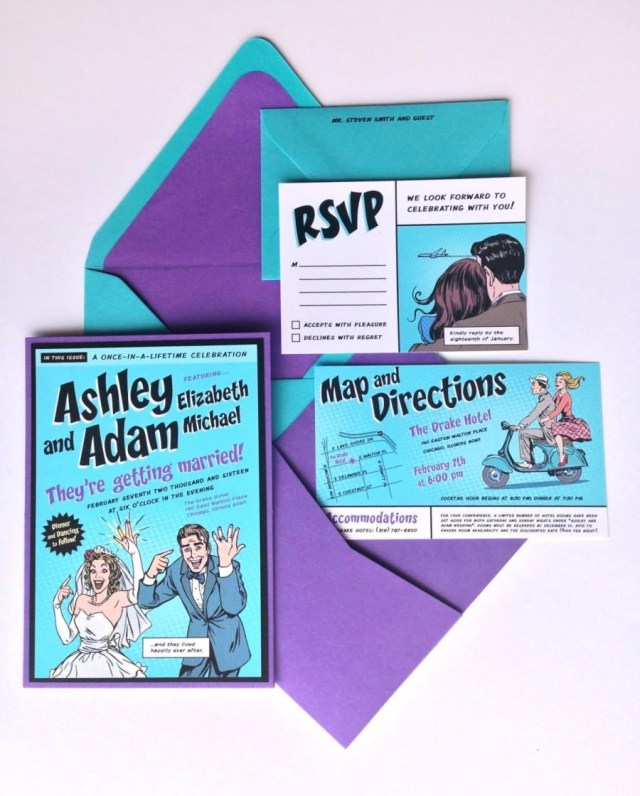Teal Wedding Invitations Kits Custom Comic Book Wedding Invitation Kit Invitation Pocket