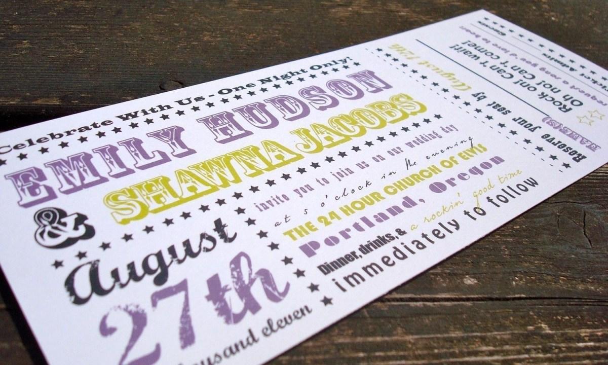Ticket Wedding Invitations Concert Ticket Wedding Invitation Sample 300 Via Etsy
