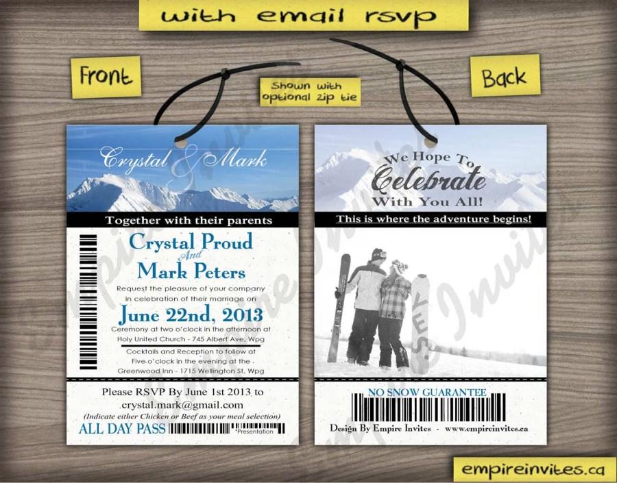 Ticket Wedding Invitations Custom Ski Pass Wedding Invitations From Winnipeg Canada Empire