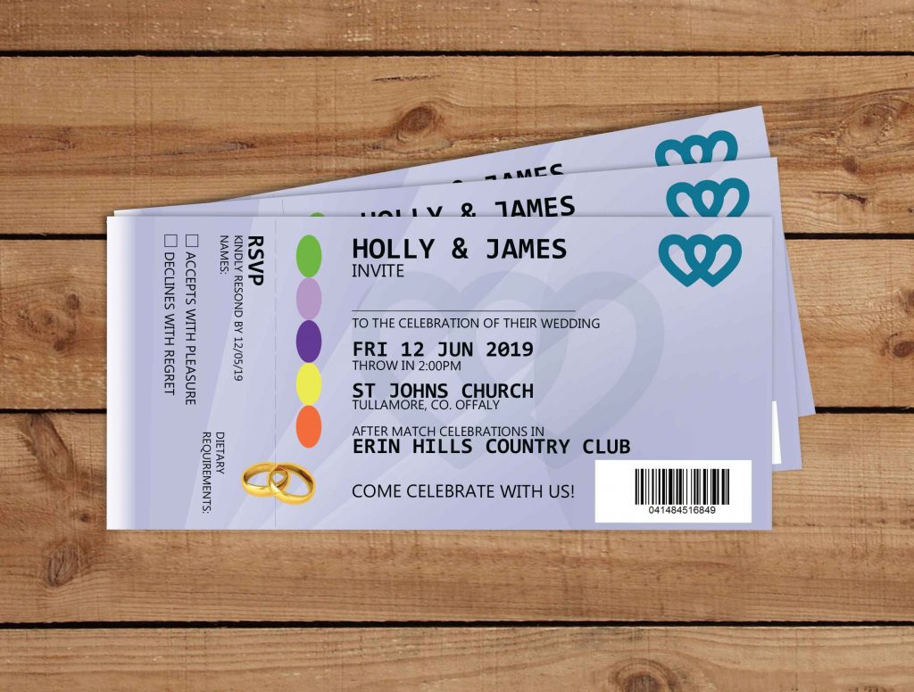 Ticket Wedding Invitations Gaa Tickets Wedding Invitations Alternative Wedding Invitations