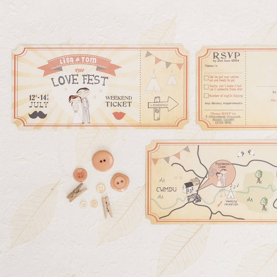 Ticket Wedding Invitations Love Fest Wedding Invitation Ticket Something Kinda Cute