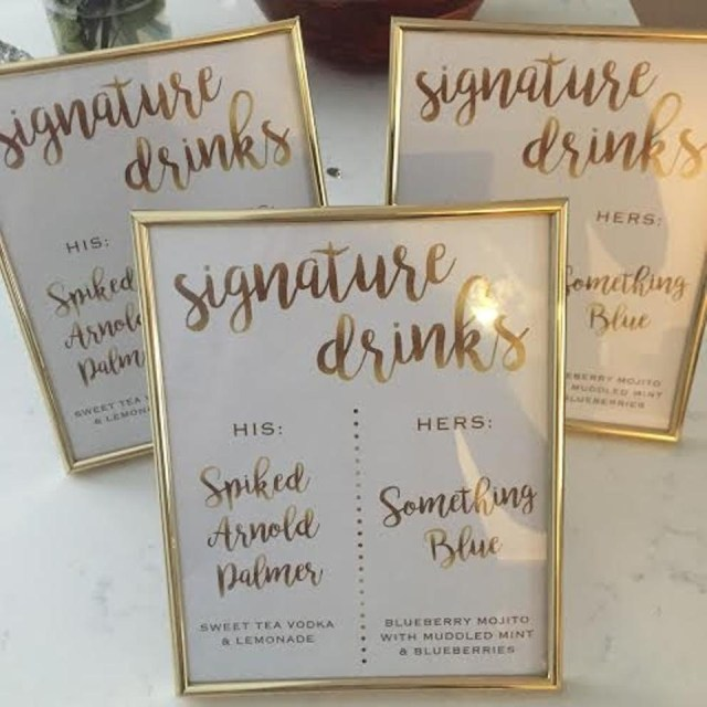 Tradesy Wedding Decor Gold Signature Drink Frames Reception Decoration Tradesy