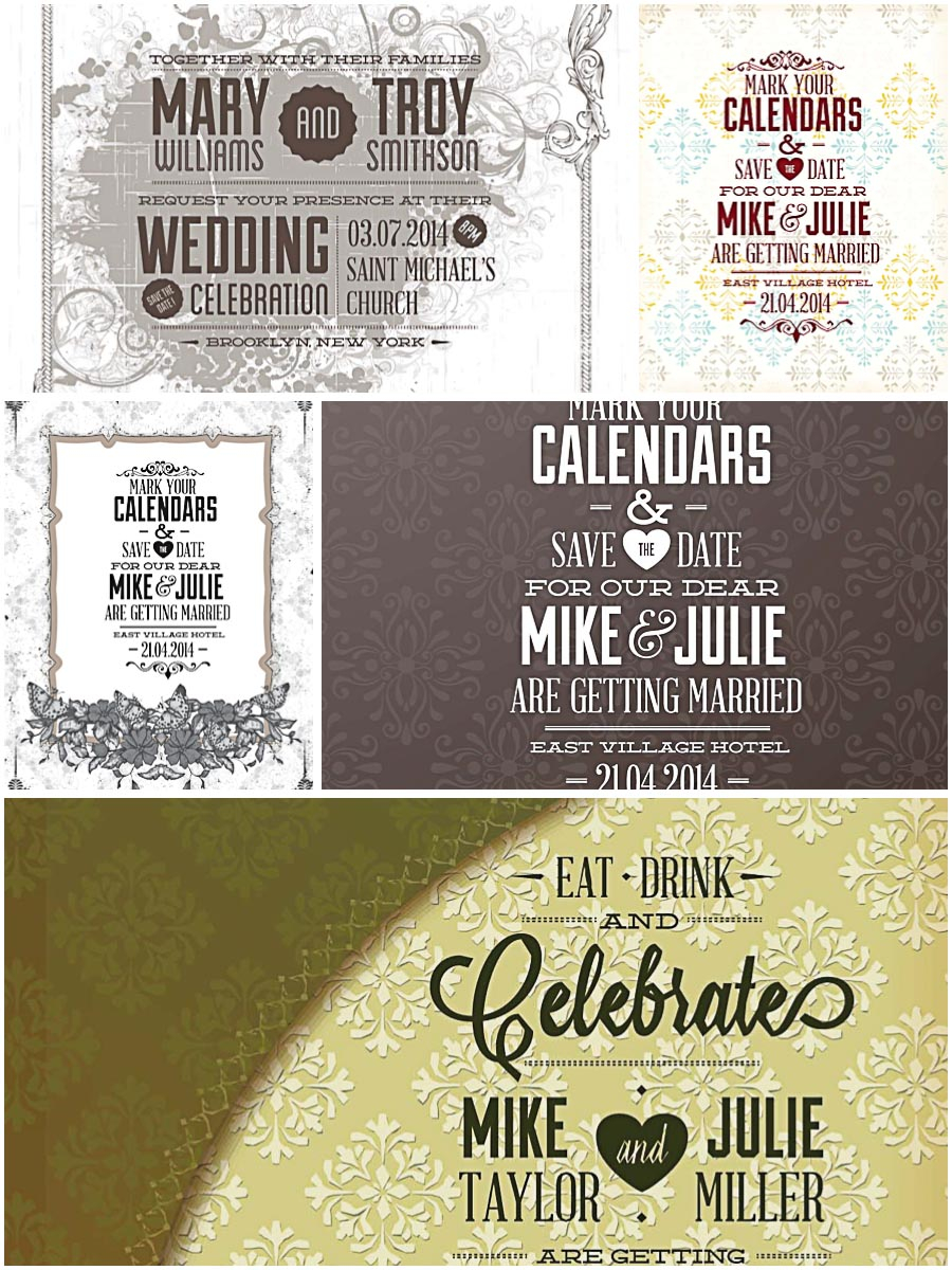 Wedding Celebration Invitations Wedding Celebration Invitations Set Vector Free Download