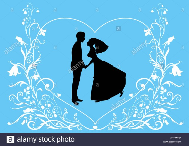 Wedding Invitation Background Blue Vector Illustration Bride Groom On Elegant Background Decorated With