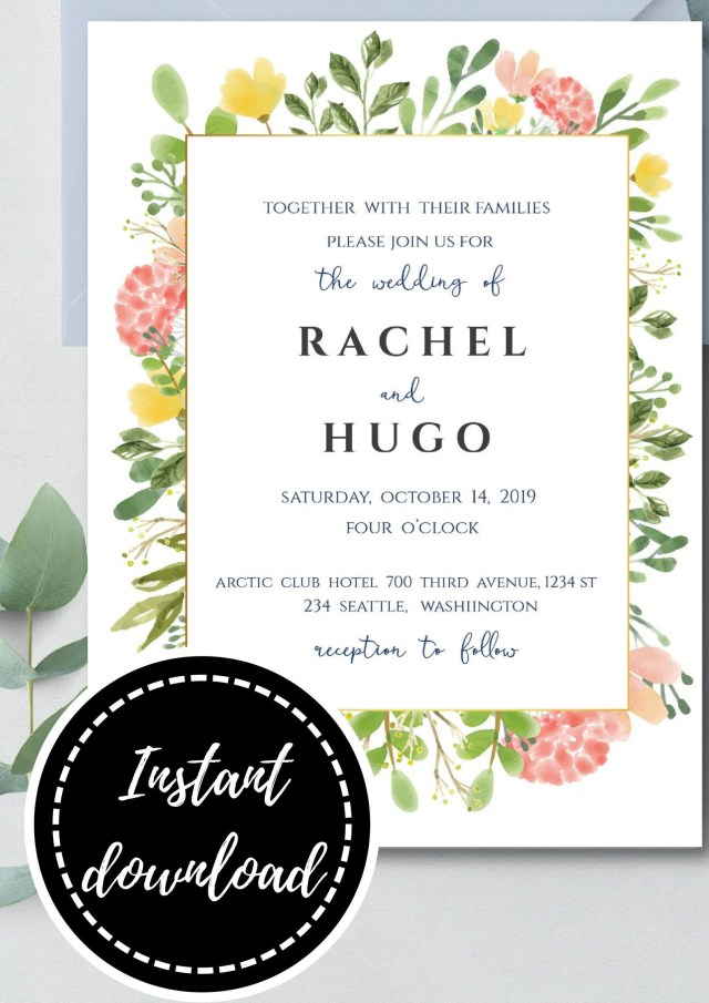 Wedding Invitation Editable Template Colorful Watercolor Flower Wedding Invitation Editable Template Inv