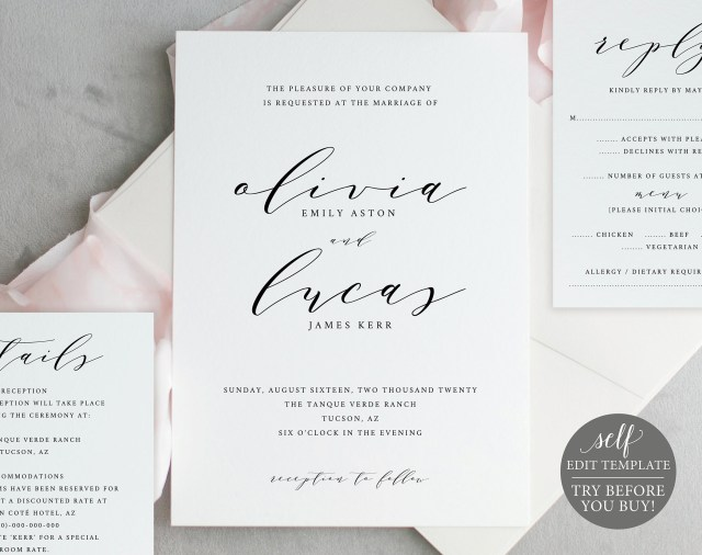 Wedding Invitation Editable Template Wedding Invitation Template Try Before You Buy Instant Download