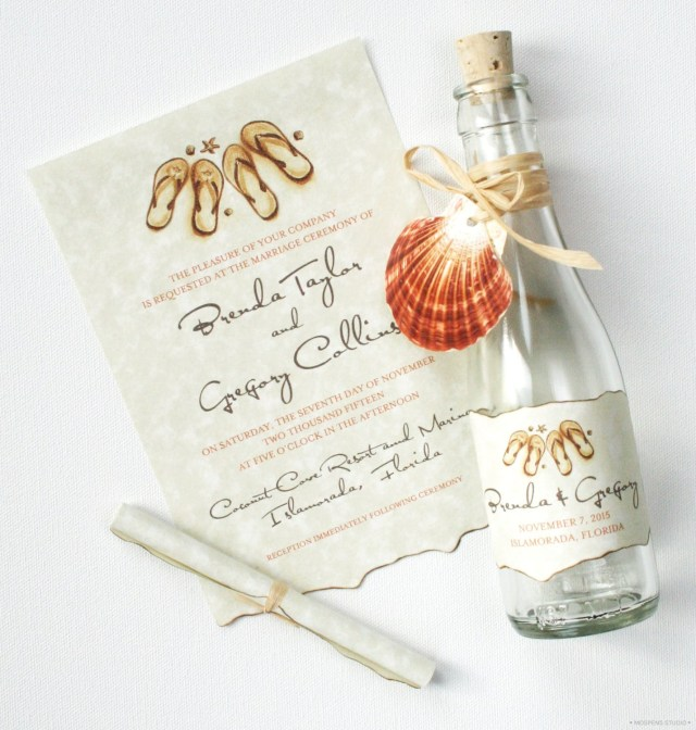 Wedding Invitation Ideas 21 Bottle Beach Wedding Invitation Ideas Custom Invitations