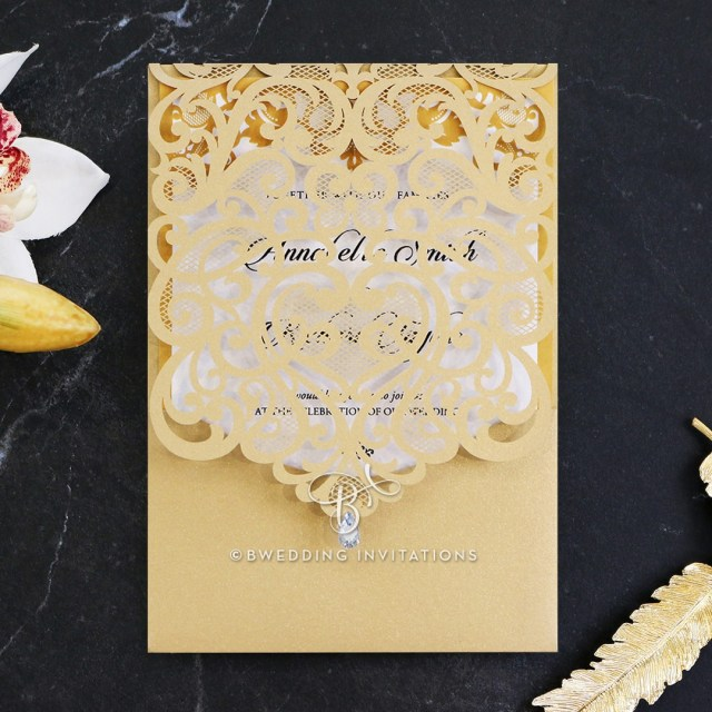 Wedding Invitation Images Gold Charming Beauty Stylish Laser Cut Wedding Invitation De